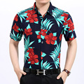 2016 New style man's summer fashion multicolor colors flowers printed short sleeve shirt