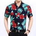2016 Nuevo estilo del hombre de moda de verano multicolor colores de flores impreso camisa de manga corta