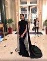 Moda Preto Gola Alta com Cape Dubai Kaftan Vestido Sereia vestidos de noite Longo 2017 Formal Vestido de Noite Vestido de Robe de sarau