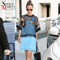 New 2017 European Designer Summer Women Blue Dress Short Sleeve Eagle Pattern Ladies Cool Mesh Patchwork