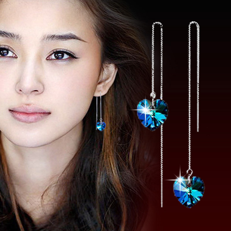 JS 2016 Silver Chain Tassel Earing Titanic Blue Stone Ocean Heart Dangle Earrings Pendientes Woman Jewelery Oorbellen SE007