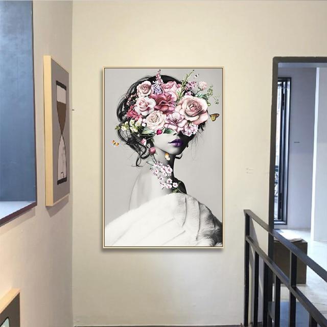 Nordic Fashion Modern Flower Girl Canvas Print 1