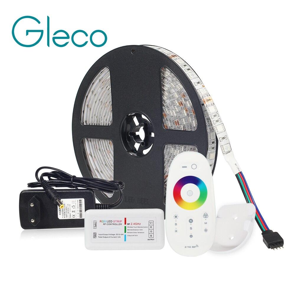 LED Kit de DC12V tira de LED de 5050 60LED/m 5 M con 2,4G de controlador de LED RF 12 V 12 V fuente de alimentación 5050 tira LED RGB RGBW RGBWW CWW