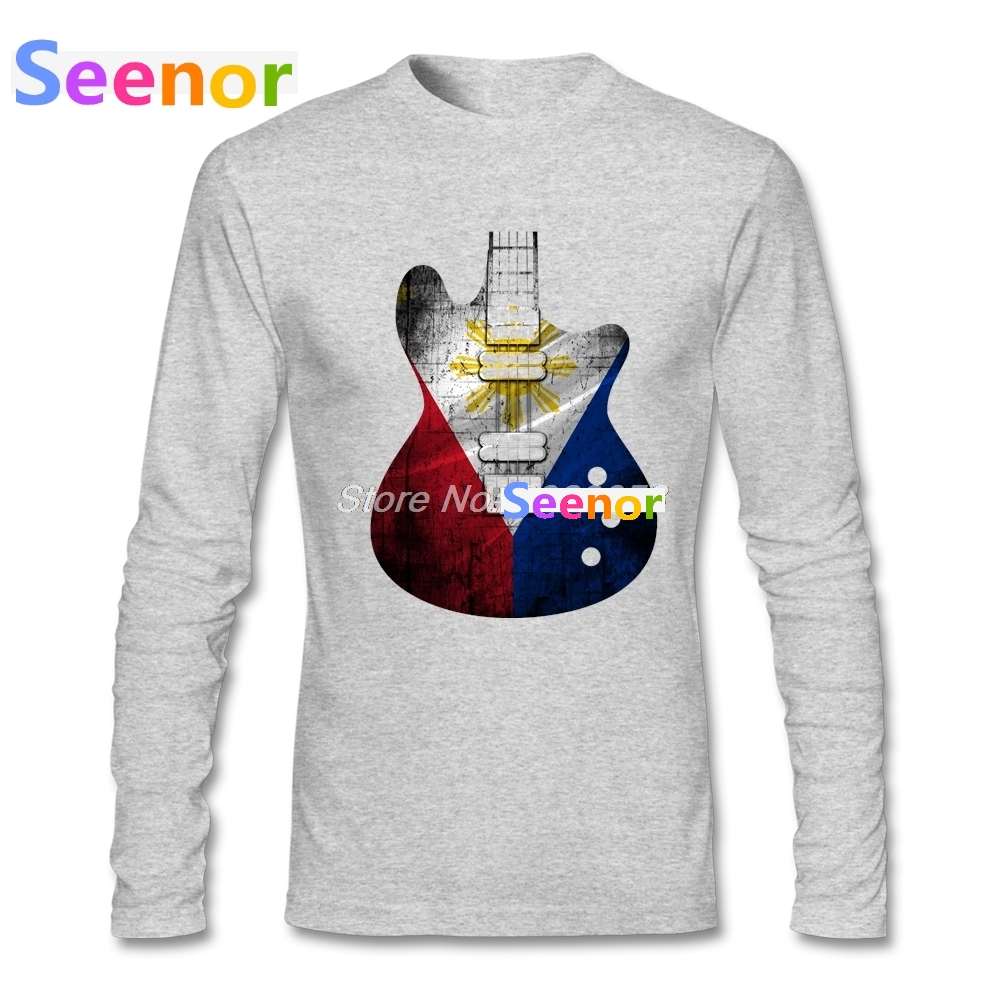 2018 Mens t-shirt Guitar Flag Philippines Brand Clothing New Tee Tops Round Neck Long Sleeve Organic Cotton Cheap Man T-Shirt - intl