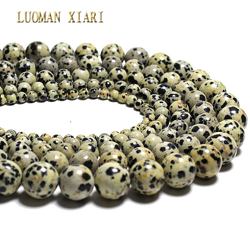 Wholesale  Dalmation Jaspers Dot Stone Natural Stone Beads For Jewelry Making Diy Necklace Bracelet 4/6/8/10/12mm Strand 15''