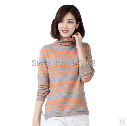 Off Sale 2016 New Female Round Neck Cashmere Sweater Knit Striped Sweater Bottoming Shirt Korean Version