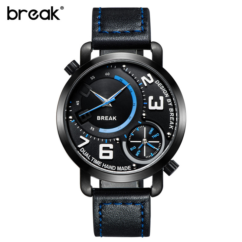 BREAK Men Sports Watch 2 Time Zone Quartz Wristwatch Top Brand Leather Band Waterproof Fashion Designer Watches with Gift Box