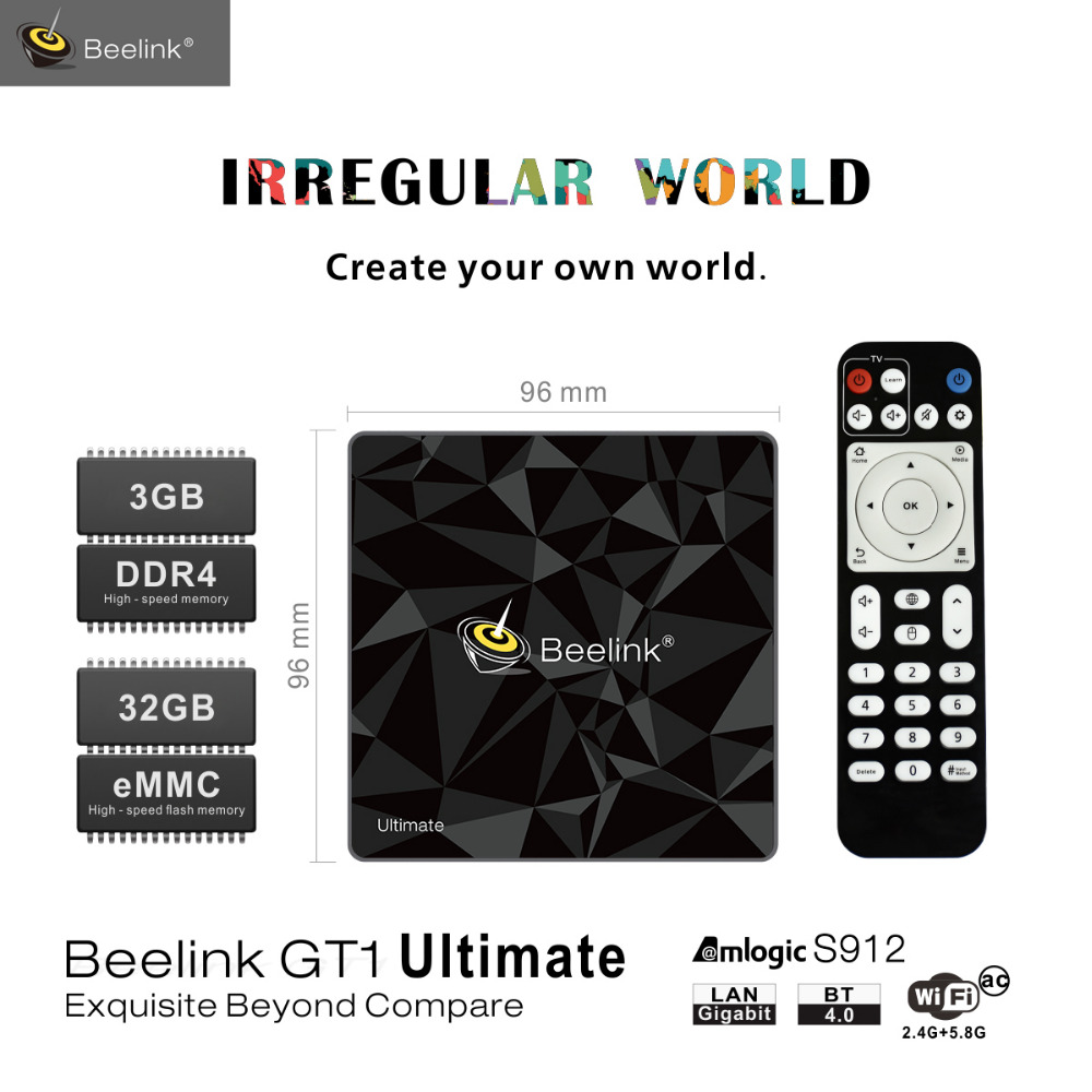 Android 7.1 Bluetooth 4.0 Beelink GT1 Ultimate Amlogic S912 Octa Core CPU Set Top Box Dual Band WiFi 1000M HDMI 3GB+32GB TV Box медиаплеер beelink gt1 2 16