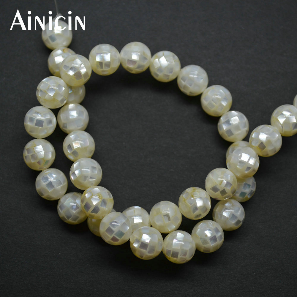 2pcs Natural White Shell Glue Joint 10mm Round Beads 16'' Fashion Jewelry Making Materials