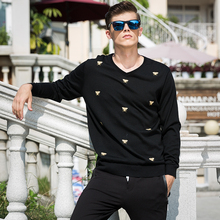 New Spring Fashion Brand clothing Casual Sweater men crewneck Slim Fit Mens Sweaters And Pullovers Floral wool bees sweater