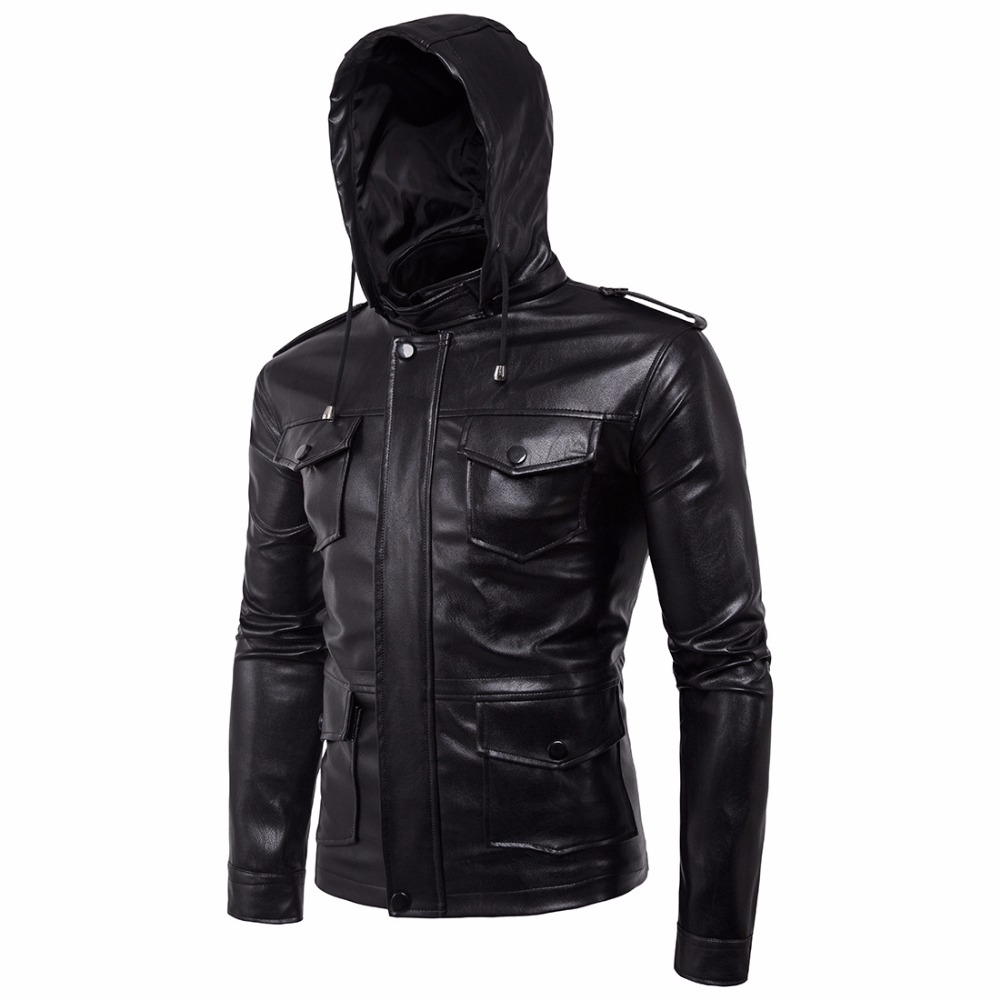 Men Fashion Leather Jacket Male Motorcycle Jackets HOOD Detachable PU Faux Leather Jacket Men Biker Jacket 5XL