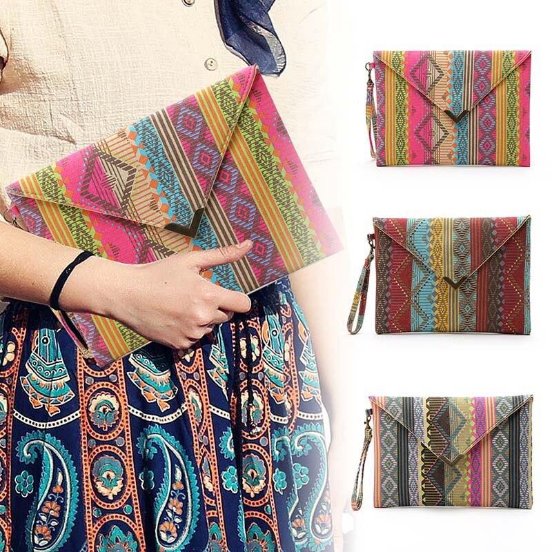 Designer Handbags Geometric Clutch Small Purses-Opk Women Ladies Envelope National Canvas