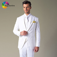 Men Suits For Wedding Suit White Bridegroom Custom Slim Fit Evening Party Groom Prom Tuxedo Tailor Costumes Best Man 3 Pieces