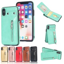 Fashion Flip Leather Case for iPhone X Card Slot Stand Zipper Wallet Case for iPhone 6 6S 7 8 Plus Cover for iphone 5 5S 5C Case green pineapples rose background wallet leather stand case for iphone 5c