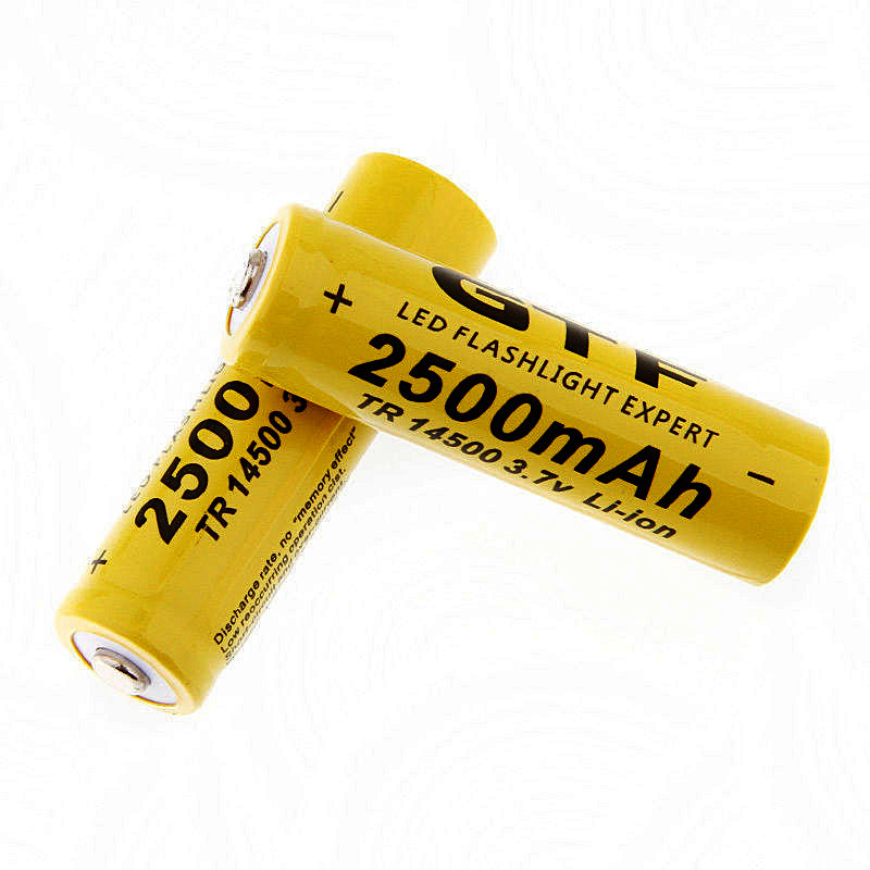 2 Pieces/Lot New 14500 battery 3.7V 2500mAh rechargeable liion battery for Led flashlight batery litio battery ...