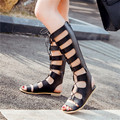 New 2016 Fashion womens strappy roman Breathable Faux Leather Cut-Outs knee high gladiator sandals boots asual Large size shoes