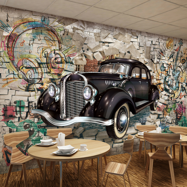 Vintage Wallpaper Custom 3d Stereo Relief Classic Cars