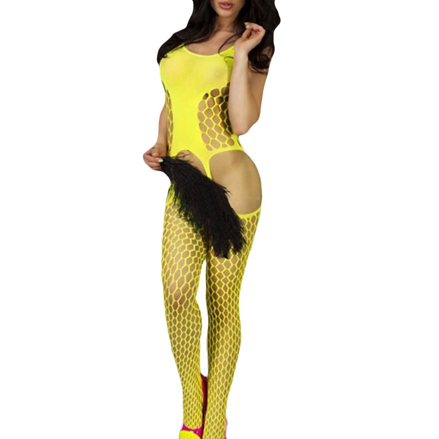 SAF 2016 NEW Sexy Women Lingerie Fish Net Cutout Sheer Panel Front Sleeveless Crotchless Body Stocking Bodysuit Yellow