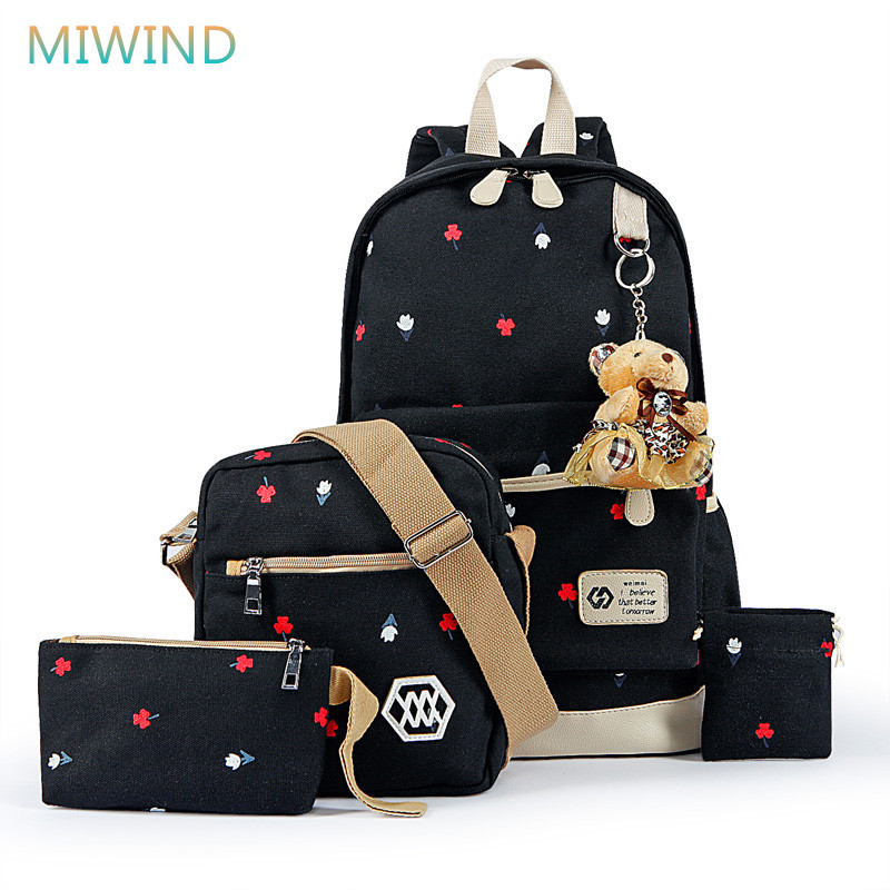 MIWIND Women Canvas Backpack Fashion 4 Pieces/set Printing School Backpacks For Teenage Girls Travel Shoulder Bag Rucksack CB249 fengdong brand women backpack shoulder bag female school students bag travel canvas printing backpack for women teenage girls