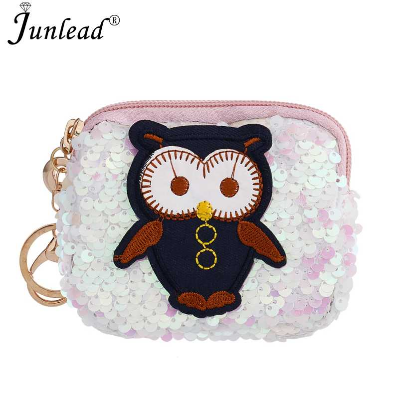 Junlead New Hot Sparkly Sequins Red Owl Coin Purse Fashion Custom KeyChains  Cute Card Coin Purse 0de31d97b246