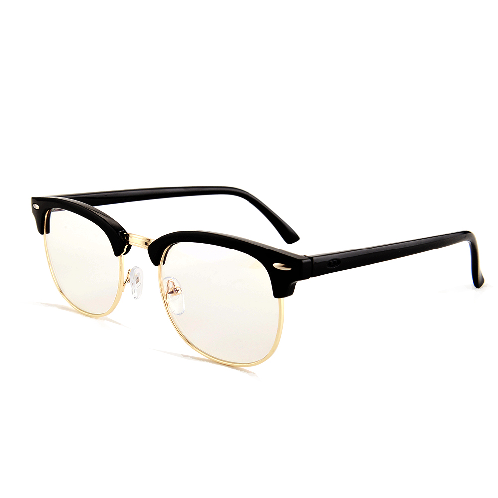 Gudzws Blue Light Blocking Glasses Computer Gaming TV Screen Viewing Half Frame Metal Rim Wire Retro Style Protect Eyes Healthy