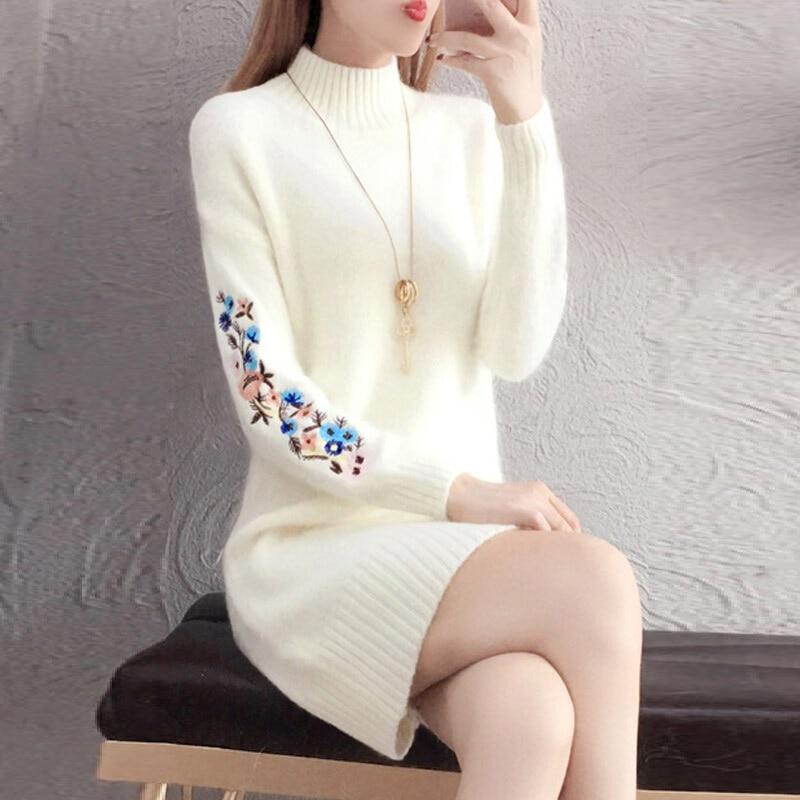 TYJTJY Faldas Mujer Moda 2019 Autumn And Winter Fashion Dresses Discounts Dress Imitation Sweater Dress Long Sleeve Warm Dress