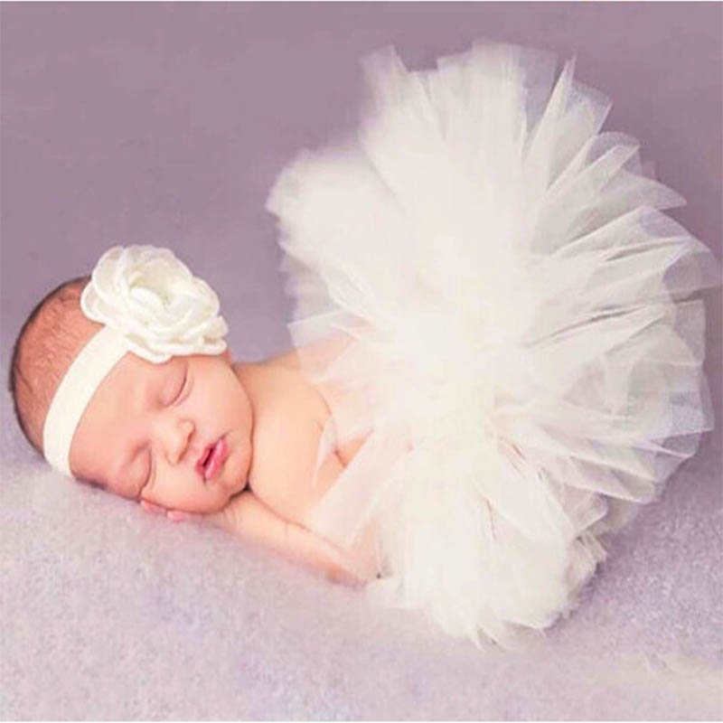 Newborn Baby Girls Clothes Skirt Set Baby Photography Props Tutu Skirt+Headband Set Clothing BM88