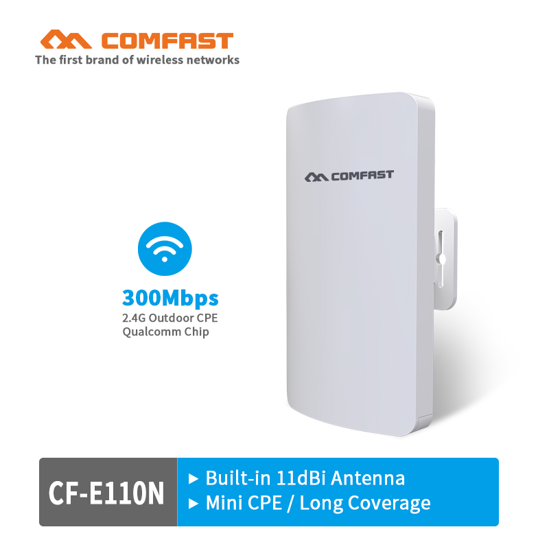 2PCS Comfast CF-E110N Outdoor Mini Wireless WIFI Extender cpe Repeater AP 300Mbps Outdoor CPE WiFi Bridge Access Point AP Router comfast cf e325n ceiling ap 300mbps wifi router wireless repeater