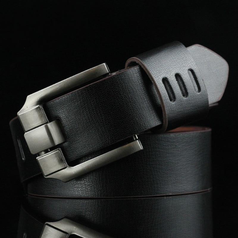 New Men's   Belt   male leather pin buckle   belts   Men Alloy Buckle Casual Male Vintage Strap Male leather luxury   belts   110cm