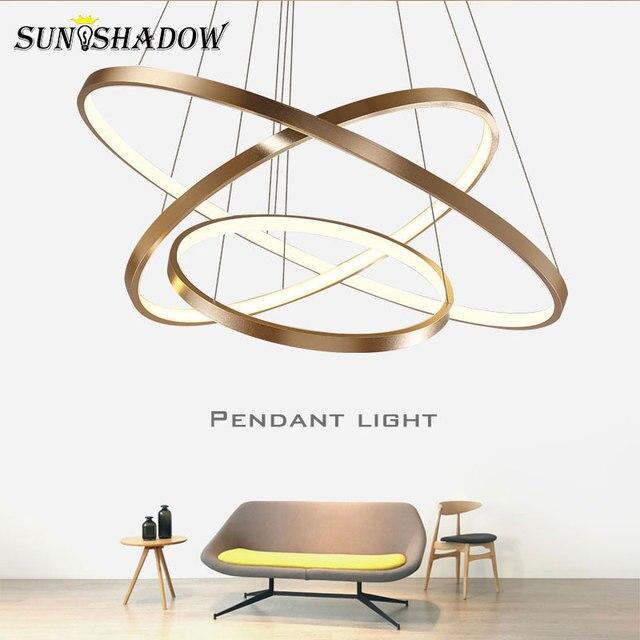 Yüzük Modern LED kolye Işık Oturma odası Yemek odası Yatak Odası Cilalar LED kolye Lamba Aydınlatma Armatürleri Siyah & Beyaz & Altın