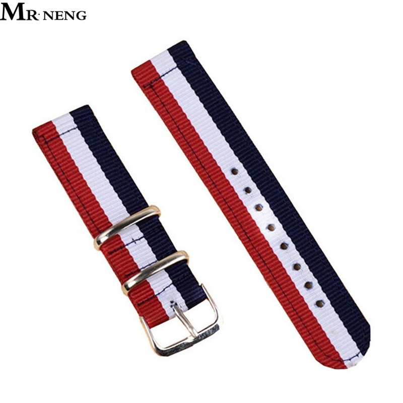 MR NENG New Arrival NATO straps 18mm 20mm 22mm 24mm Watchband Canvas Two Parts Stripe Watch Strap 20mm new high quality straps for nato 18mm 19mm 20mm 21mm 22mm 23mm 24mm 26mm black green sports leisure woven nylon watch straps
