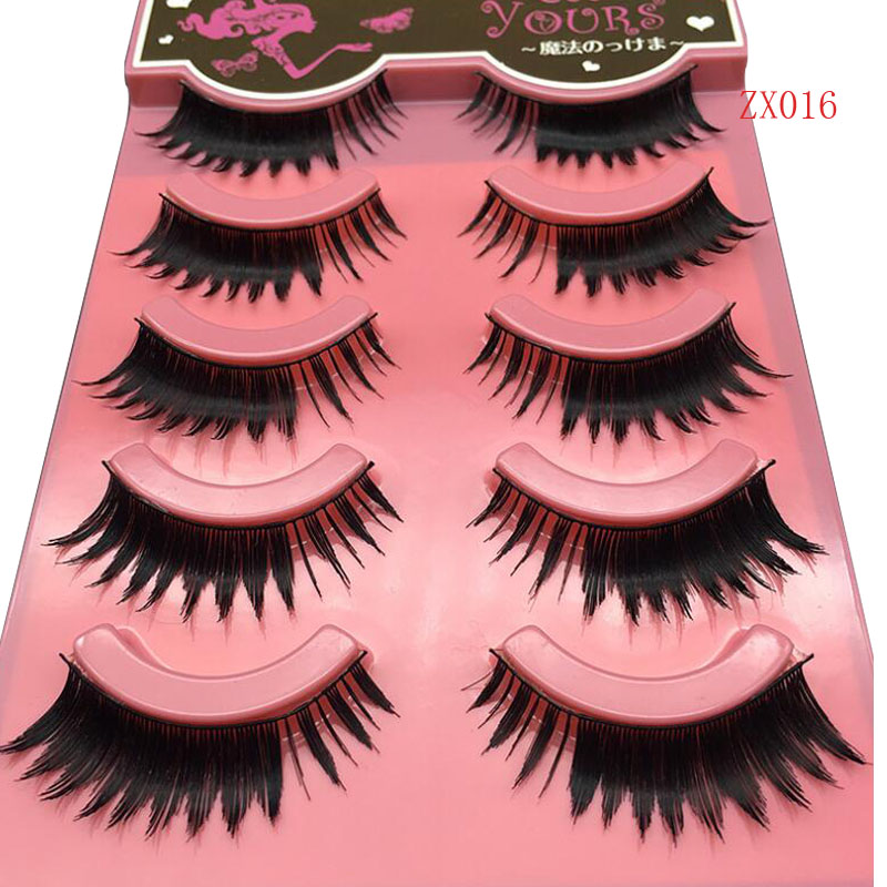 5Pairs/ New Women Lady Natural Soft Black Fake EyeLash Handmade Thick long False Eyelashes Make up Beauty extention Tools C172