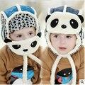 Зима Теплая Чистого Хлопка Ребенка Вязаная Шапка, Симпатичные Pattern Panda Baby Маски Защиты Слуха Крышка, Лучший Новый год Подарок Для Мальчиков и Девочек