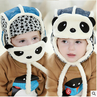 Children Fall And Winter Hat Knitted Hat Wholesale Baby Cartoon Panda Hat Dual Ear Masks Lei