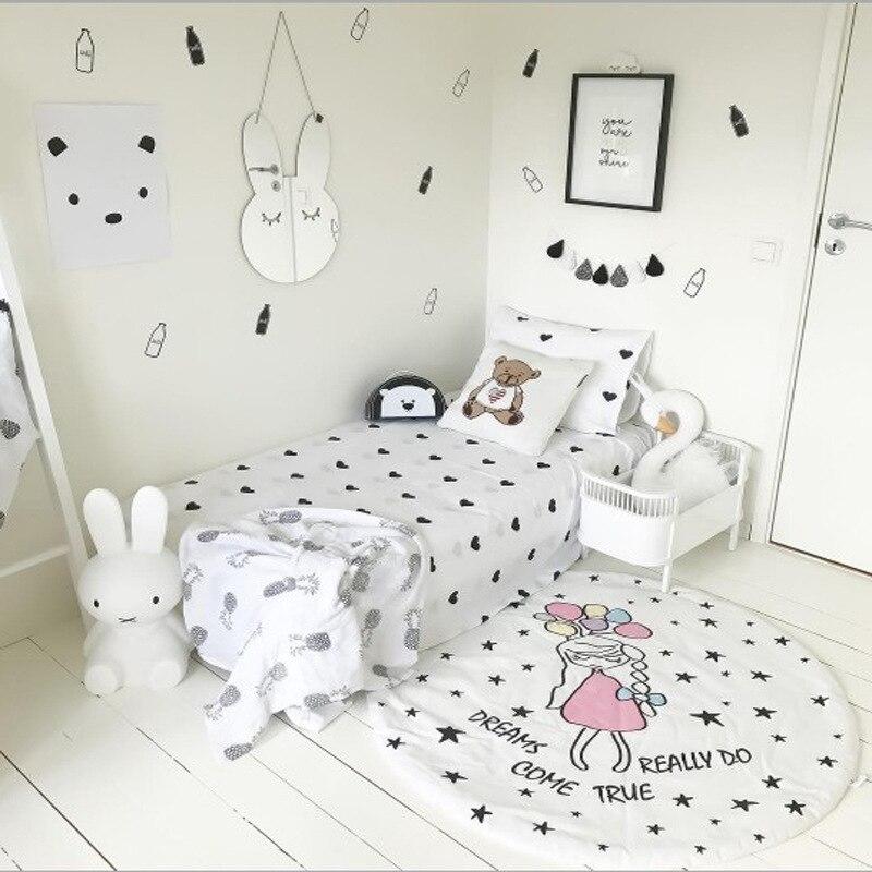 Ins Girl Star print Rabbit Baby Blanket Play Game Mats Cartoon Kids Carpet Rug Children Toy Crawling Rugs Christmas Gift 90cm