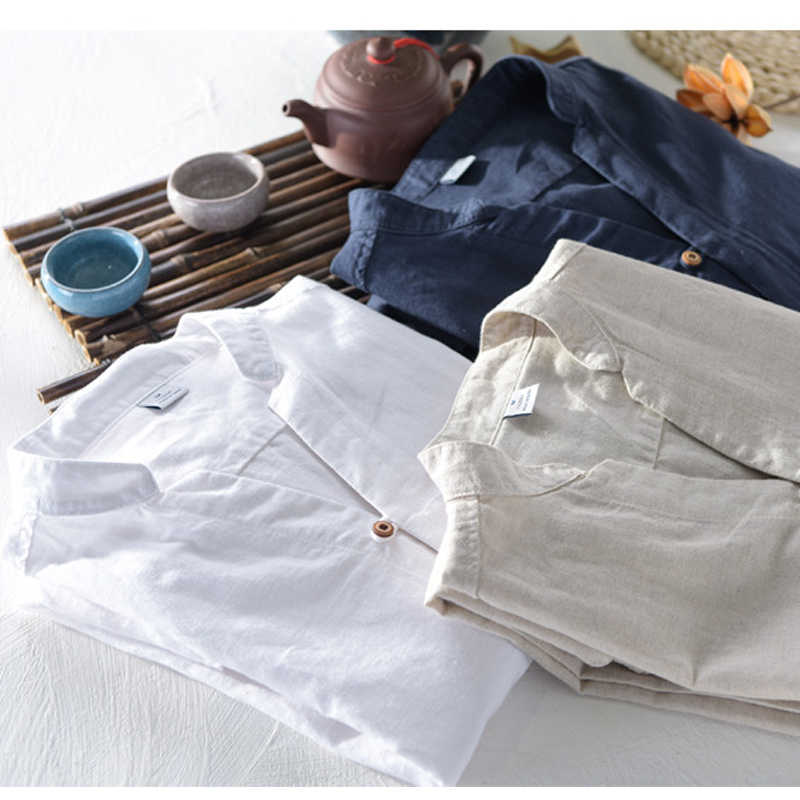 Solid Color Mens Shirts Linen long sleeve fold Spring men shirt brand flax cotton shirt chemise homme camisa masculina M-3XL 607