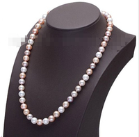 fast 2015 New womens jewerly 8 9mm White AAA Grade Akoya Pearl necklace s772
