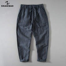 SHANBAO high quality thin cotton and linen loose breathable casual pants 2020 summer
