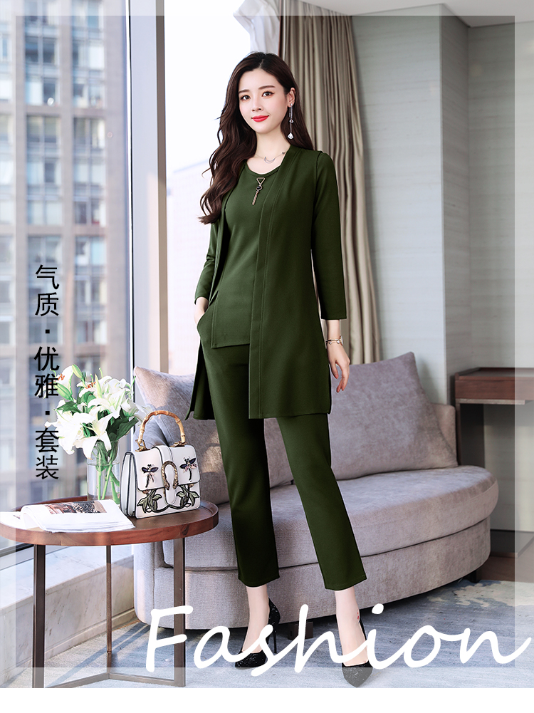 Spring Autumn 3 Piece Set Women Long Coat T-shirt And Pants Sets Casual Elegant Three Piece Sets Suits Women's Costumes 51