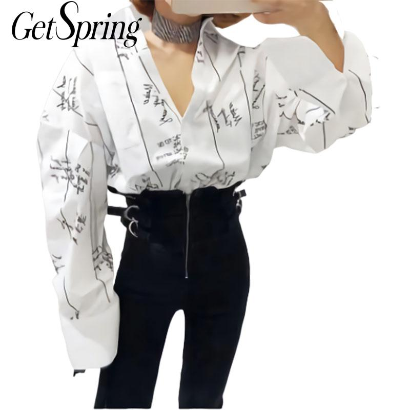 GETSRING Women   Shirt     Blouse   2019 Spring Cotton White   Blouses   All-match Loose Letter Print Cardigan   Shirt   Long Sleeved   Shirts