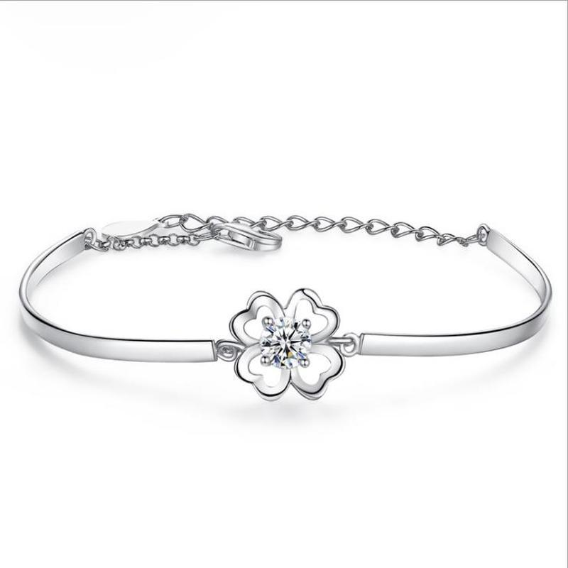 Everoyal Top Quality Silver 925 Bracelets For Women Jewelry Fashion Crystal Stone Clover Bracelet Girl Accessories Female Gift in Charm Bracelets from Jewelry Accessories