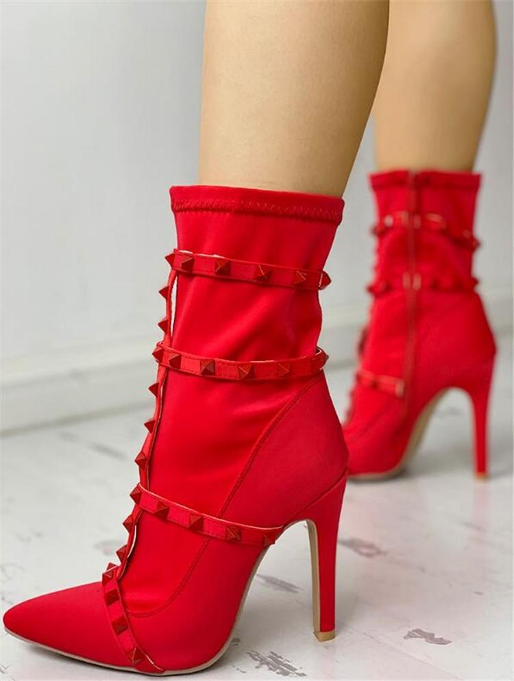 69fd78560e680 Alto Stivali Polpaccio 42 Donne Sottile rosso Scarpe A Grande Formato  Impreziosito Di Donna Il Tacco ...