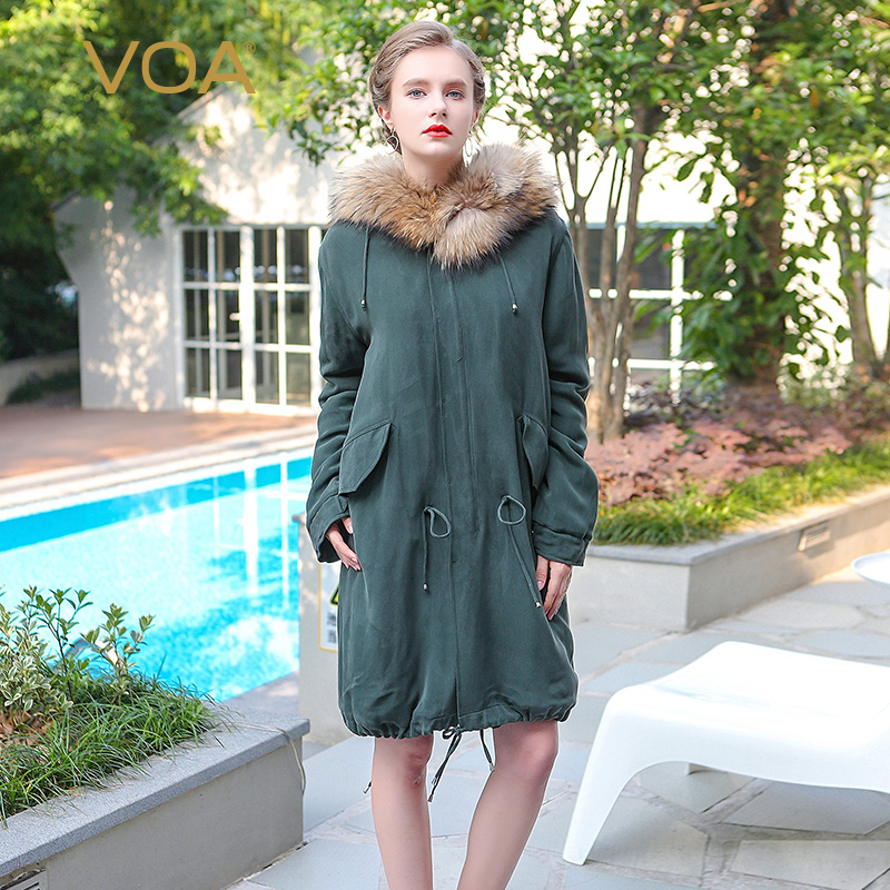 VOA dark green hooded parka ladies solid pleated adjustable waist cotton padded clothes Spring long straight coat M1262 nike alliance parka 550 hooded