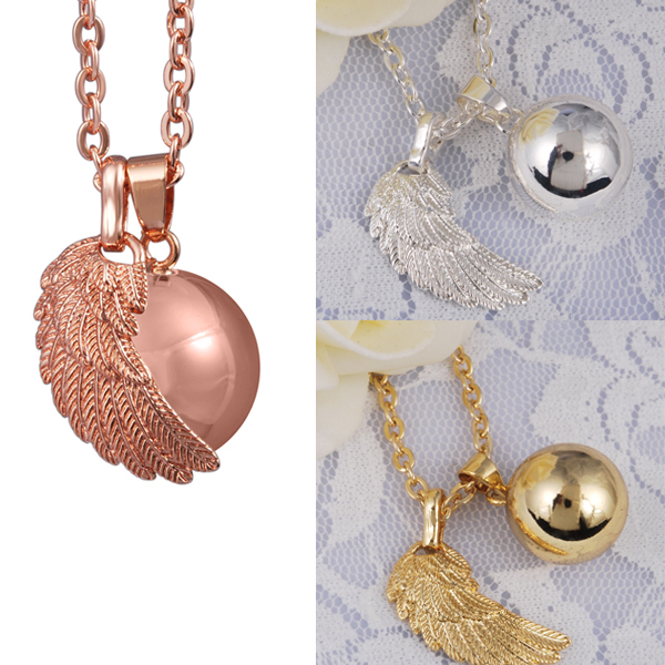 5PCS/lot Gold-Color Angel Wing Bola Ball Pendant 45 inch Maternity Necklace for Harmony Bola Wholesales