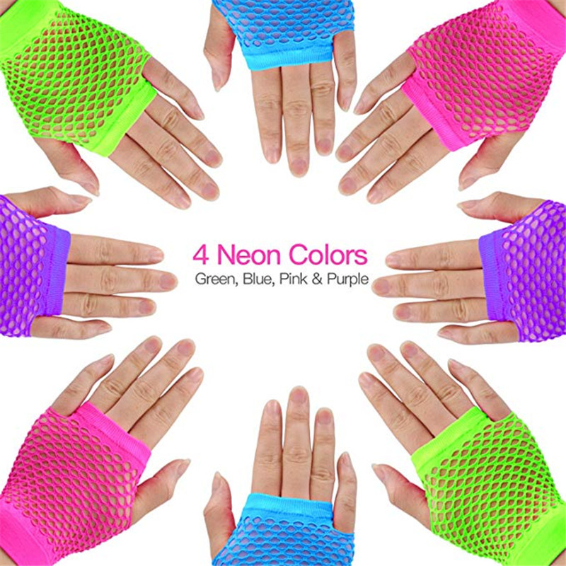 Neon Pink Fingerless Fishnet Gloves with Ruffle ~ HALLOWEEN 80/'s PUNK ROCK DIVA