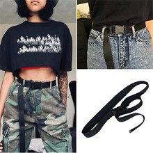 Новое поступление, черный холщовый ремень для женщин, повседневные женские поясные ремни с пластиковой пряжкой, Harajuku, однотонные длинные ремни ceinture femme
