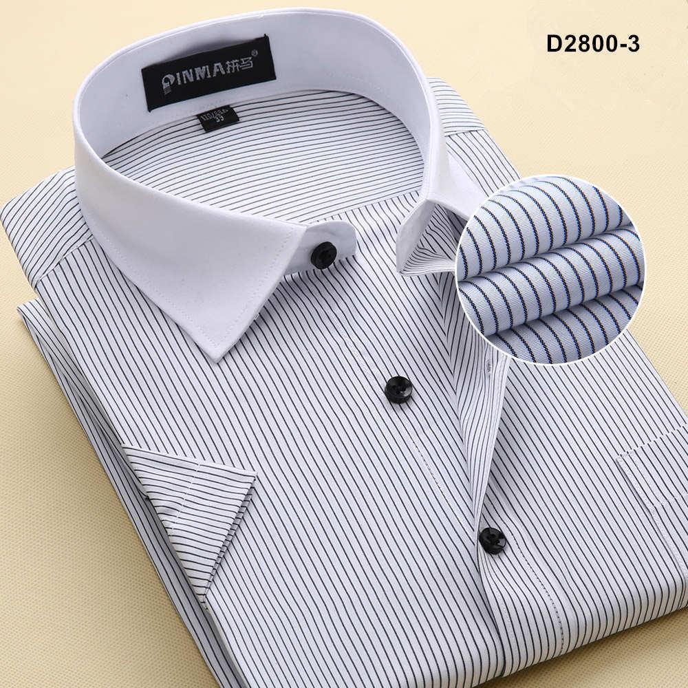 Брендовые мужские рубашки в полоску, Повседневная Деловая официальная рубашка высокого качества с коротким рукавом для мужчин размера плюс 5XL-8XL - Цвет: D28003