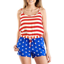 Sexy Women Two Piece Set American Flag Stripe Print Tops Star Bandage Suits Shorts Club Tracksuits Top Short Sets #424(China)