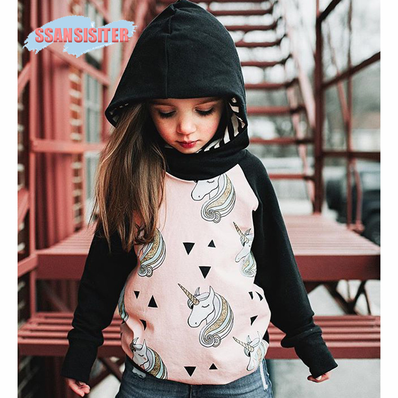 Unicorn Shirt Girls Sweater Hooded Cotton Children T-Shirts Kids Hoodie Sweater Enfant Outfits Clothing T Shirts Ropa Unicornio longline hooded chunky sweater page 1