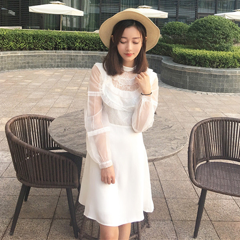 2017 White Black Club Dress Fall Fashion Womens Long Sleeve Hollow Out Lace Dresses